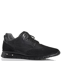 Черные кроссовки из замши и кожи Cesare Paciotti Paciotti 4US с декоративной перфорацией, фото