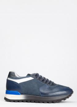 Синие кроссовки Gianfranco Butter из кожи и замши, фото