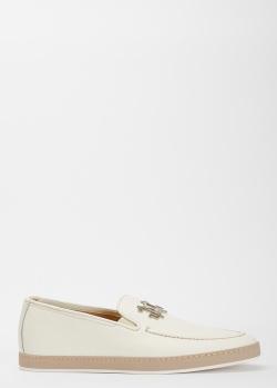 Белые туфли Giampiero Nicola с металлическим декором, фото