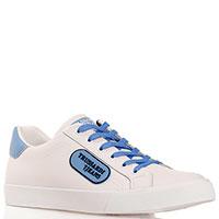 Белые кеды Trussardi Jeans с синей шнуровкой, фото