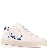 Кеды белого цвета Moreschi с вышивкой-лого, фото