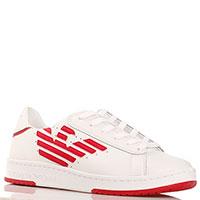 Кеды белые Emporio Armani с красной нашивкой-лого, фото