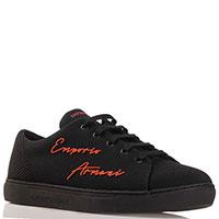Кеды текстильные Emporio Armani черного цвета с лого, фото