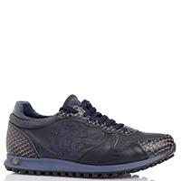 Синие кроссовки Roberto Cavalli с тиснением на коже, фото