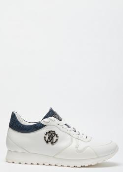 Кроссовки из кожи Roberto Cavalli с фактурными вставками, фото