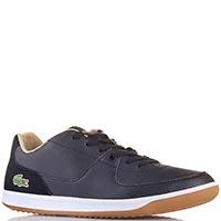 Мужские кожаные кроссовки Lacoste черного цвета, фото