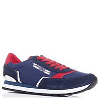 Синие кроссовки Trussardi Jeans на красной шнуровке, фото