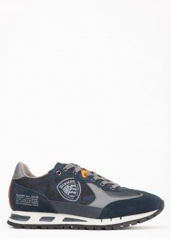 Синие кроссовки Blauer из замши и текстиля, фото