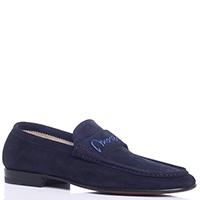 Темно-синие туфли Moreschi с брендовой вышивкой, фото