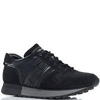 Замшевые кроссовки Baldinini с текстильными вставками, фото