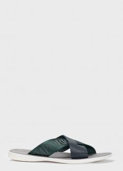 Синие шлепанцы Emporio Armani на светлой подошве, фото