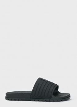 Шлепанцы Emporio Armani черного цвета, фото