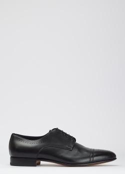 Черные броги Santoni из блестящей кожи, фото