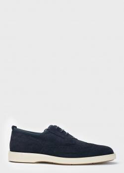 Синие туфли Santoni на белой подошве, фото