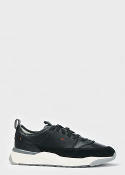 Черные кроссовки Santoni на белой подошве, фото