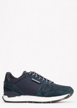 Кроссовки Emporio Armani из синей замши, фото