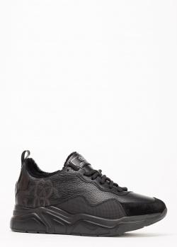 Черные зимние кроссовки Roberto Cavalli на меху, фото