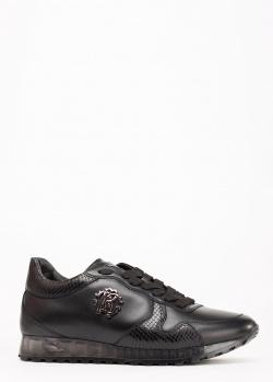 Кроссовки Roberto Cavalli из черной кожи, фото