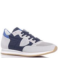 Кроссовки Philippe Model серые с синим, фото