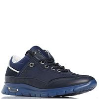 Синие кроссовки Cesare Paciotti Paciotti 4US из кожи и текстиля, фото