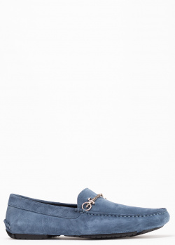 Замшевые мокасины Cesare Paciotti синего цвета, фото