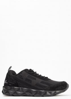 Кроссовки черного цвета Ea7 Emporio Armani с замшевыми вставками, фото