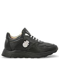 Черные кроссовки Billionaire из гладкой и зернистой кожи, фото