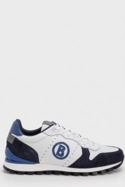 Белые кроссовки из кожи Bogner с логотипом, фото
