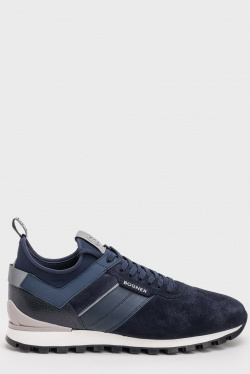 Мужские кроссовки Bogner из темно-синей замши, фото