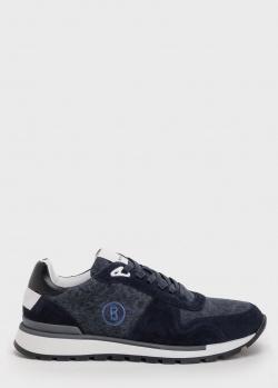 Синие кроссовки Bogner с брендовой вышивкой, фото