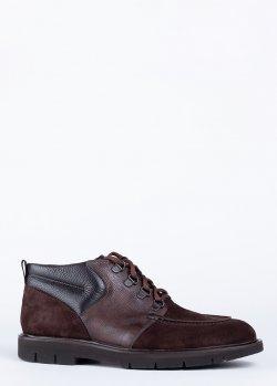 Коричневые ботинки Barrett из кожи и замши, фото