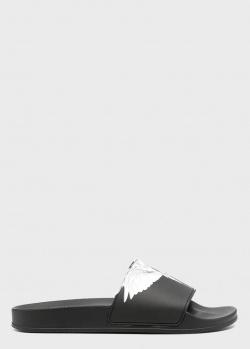 Черные мужские шлепанцы Marcelo Burlon с принтом в виде крыльев, фото
