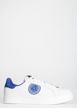 Белые кеды Versace Jeans Couture с синими вставками, фото