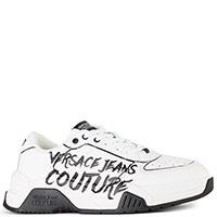Мужские белые кроссовки Versace Jeans Couture с логотипом, фото
