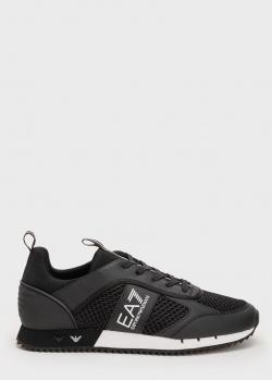 Черные кроссовки Ea7 Emporio Armani с белой полосой на подошве, фото