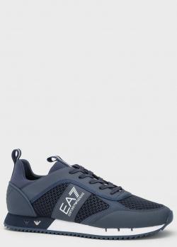 Синие кроссовки EA7 Emporio Armani с сеткой, фото