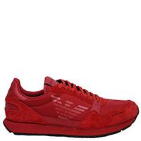 Мужские кроссовки Emporio Armani из красной замши, фото