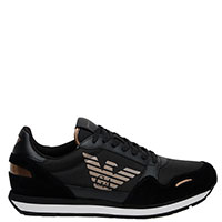 Черные кроссовки Emporio Armani из кожи и текстиля, фото