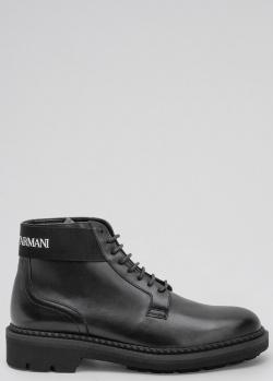 Черные ботинки Emporio Armani из гладкой кожи, фото