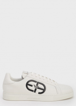 Однотонные белые кеды Emporio Armani с логотипом, фото