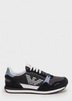 Кроссовки на шнуровке Emporio Armani черного цвета, фото
