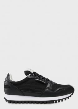 Черные кроссовки Emporio Armani на шнуровке, фото