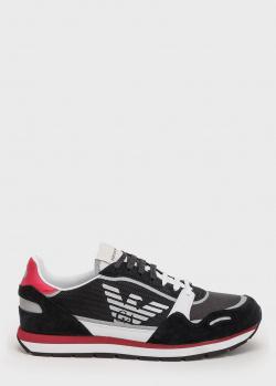 Черные кроссовки Emporio Armani из текстиля и замши, фото