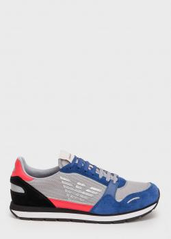 Мужские кроссовки Emporio Armani с брендовым принтом, фото