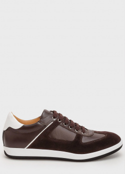 Коричневые кроссовки Emporio Armani из кожи и замши, фото