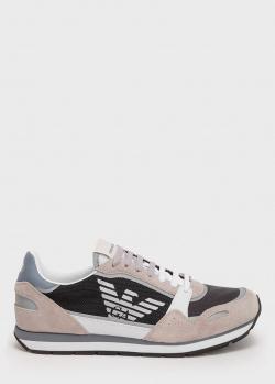 Бежевые кроссовки Emporio Armani с фирменным орлом, фото