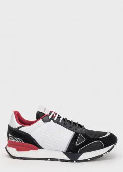 Черно-белые кроссовки Emporio Armani с фактурным лого, фото