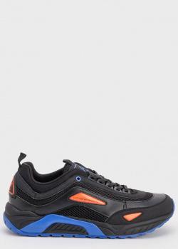 Черные кроссовки Emporio Armani с синими вставками, фото
