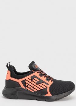 Черные кроссовки Emporio Armani с оранжевыми вставками, фото