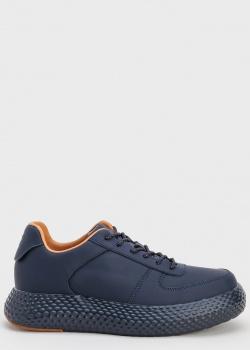 Однотонные синие кроссовки Emporio Armani на толстой подошве, фото
